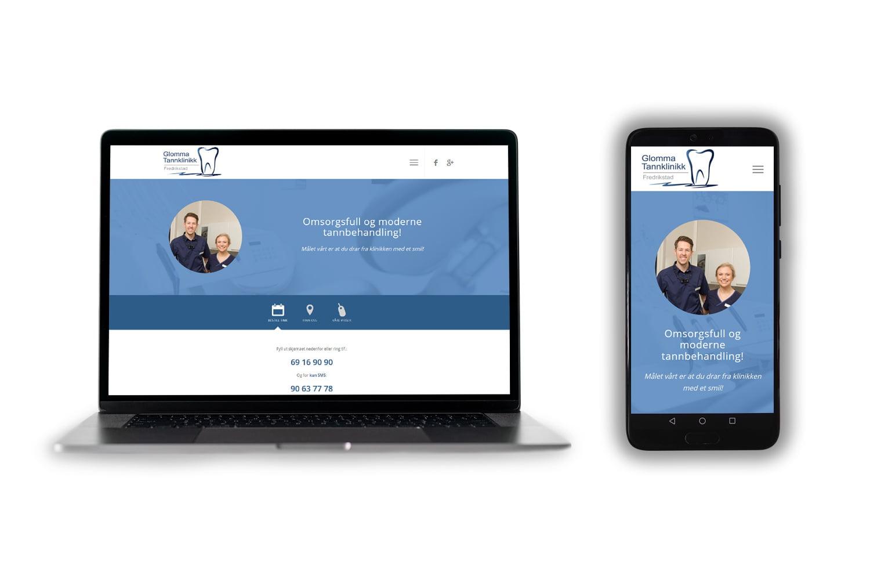 Glommatannklinikk hovedbilde telefon og pc
